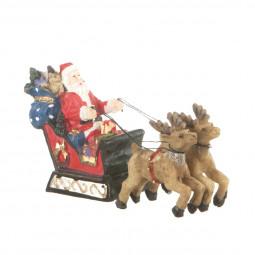 Accessoire pour Village de Noël Père Noël sur son traîneau tiré par 2 rennes