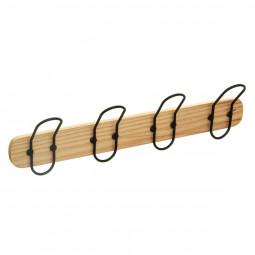 Patère en bois à 4 crochets forme agrafe