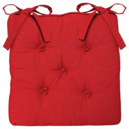 Galette de chaise rouge 5 boutons 40x40 cm