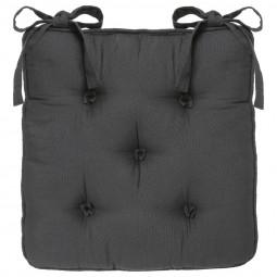 Galette de chaise gris foncé 5 boutons 40x40 cm