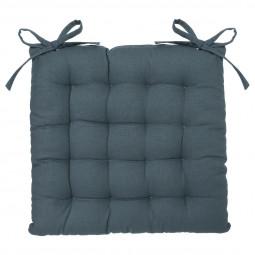 Galette de chaise bleu orage 38x38 cm