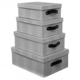 Lot de 4 boîtes waffles gris/rose
