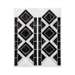 1 Planche sticker déco carreaux frise losange noir