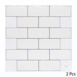 Set de 2 planches sticker déco effet brique blanche