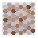 Set de 2 planches sticker déco hexagone brun