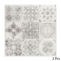 Set de 2 planches sticker déco 9 carreaux gris