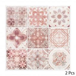 Set de 2 planches sticker déco 9 carreaux vieux rose