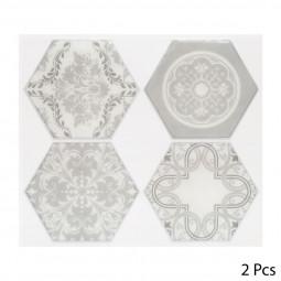 Set de 2 planches sticker déco 4 hexagones gris