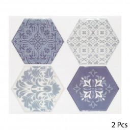Set de 2 planches sticker déco 4 hexagones bleus