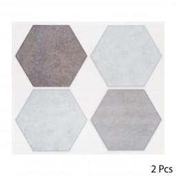 Set de 2 planches sticker déco 4 hexagones unis