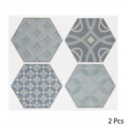 Set de 2 planches sticker déco 4 hexagones à motif
