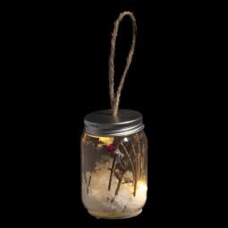 Sujet de noël lumineux Bocal déco nature LED Blanc chaud