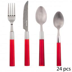 Ménagère 24 pièces tamaris rouge