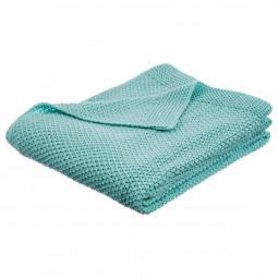 Plaid tricot bleu 125x150 cm
