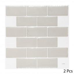 Set de 2 planches sticker déco effet brique grise