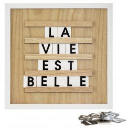 Tableau en bois avec lettres format 30x30 cm collect moments