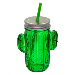 Chope avec paille 420 ml cactus