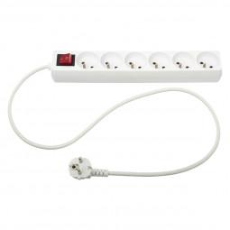 Bloc multiprise électrique blanche 6 prises terre + interrupteur