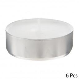 Lot de 6 Bougies chauffe-plat Grand Modèle Blanc
