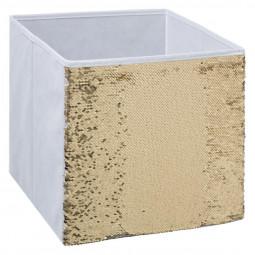 Boîte de rangement sequin blanc 31X31