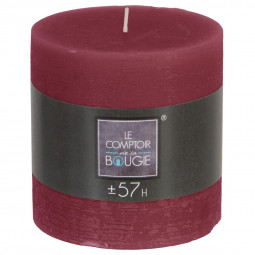 Bougie ronde rustique D. 10 x H. 10 cm Bordeaux
