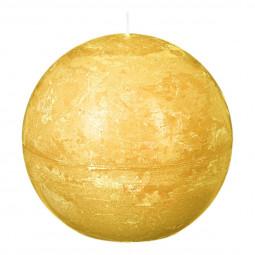 Bougie boule rustique D. 10 cm Jaune