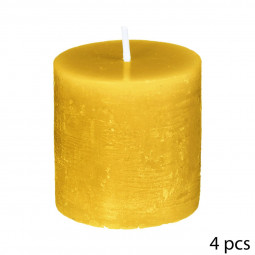 Lot de 4 Bougies votives rustiques D 4.5 x H 4.50 cm Jaune