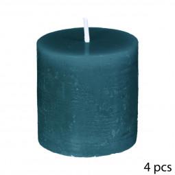 Lot de 4 bougies Votive rustique Bleu canard D4.5