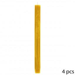 Lot de 4 Bougies Bâtons Rustiques D. 2,2 x H. 24,7 cm Jaune