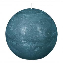 Bougie boule rustique D. 10 cm Bleu canard