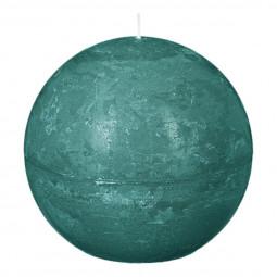 Bougie boule rustique D. 10 cm Vert émeraude