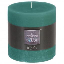 Bougie ronde rustique D. 10 x H. 10 cm Vert émeraude