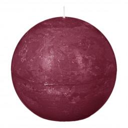 Bougie boule rustique D. 10 cm Bordeaux