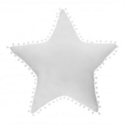 Coussin Etoile avec pompons coloris Blanc
