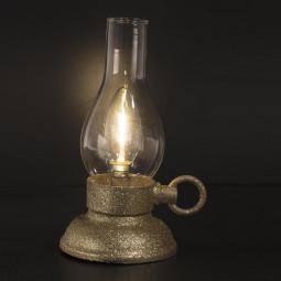 Décoration Lumineuse Lanterne Or pailleté LED Blanc chaud H 20.5 cm