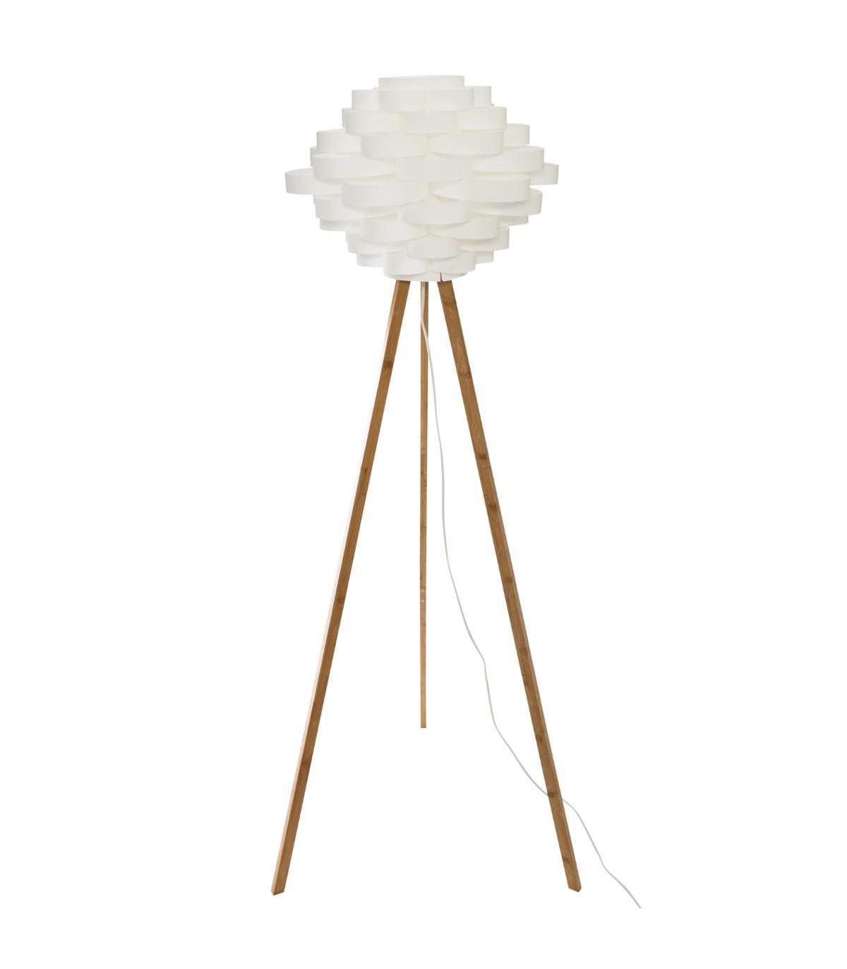 Lampadaire trépied en bambou et abat jour blanc H153