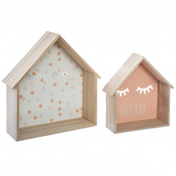 Lot de 2 Etagères forme maison collection Bohème