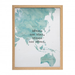 Tableau cadre décoratif Monde H31.5 cm