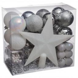 Décoration de sapin de Noël Kit de 44 pièces Boules, Guirlandes et Cimier collection La maison des couleurs
