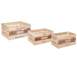 Lot de 3 Caisses de rangement Cagettes en bois